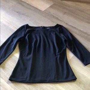 NWT Ann Taylor petite Black zipper back blouse